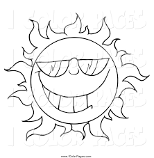 vector coloring page of a black and white cool sun wearing shades