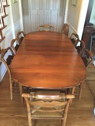 vintage hitchcock dining set table 2 leaves u0026 6 chairs rush