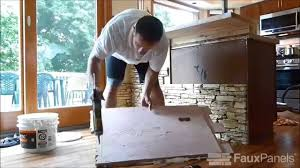 kitchen island makeover with stacked stone panels youtube