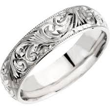 carved wedding band 14k white gold engraved wedding band wedding bands