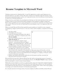 Job Resume Format Word by Resume Template For Word Resume For Your Job Application
