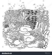 coral reef line art style ocean stock vector 358074071 shutterstock