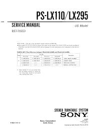 sony pslx295 service manual immediate download