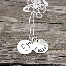 Necklace With Children S Names Childrens Names Necklace With Baby Elephant Hand Stamped Sterling