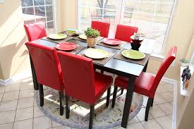 Dining Room Table 6 Chairs by Amazon Com 7 Pc Red Leather 6 Person Table And Chairs Red Dining