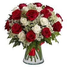 White Roses In A Vase 15 Red Roses U0026 15 White Roses With Vase Buy Flowers In Dubai Uae