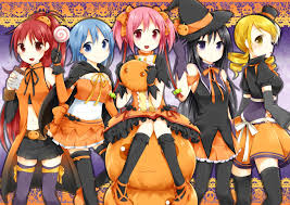 halloween hd anime girls mahou shoujo madoka magica halloween wallpapers hd