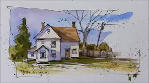pen and wash demonstration of a country farmhouse easy to follow