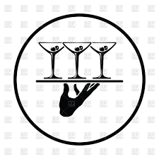 martini illustration waiter hand holding tray with martini glasses icon vector clipart