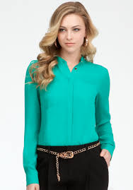 bebe blouse lyst bebe welt pocket basic silk button up blouse in green