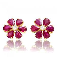ruby stud earrings ruby stud earrings flower diamond accent