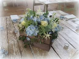 Frugal Flowers - country style wooden crate wedding table centre in shades of blue