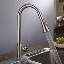 satin nickel kitchen faucets nickel brushed finish contemporary single handle kitchen faucet