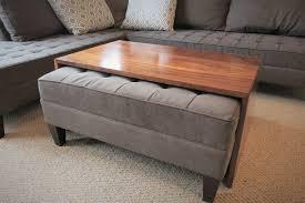 storage ottoman coffee table with trays coffee table ottomanfee table with tray storage diy tufted wheels