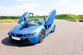 bmw supercar blue i8 thrill
