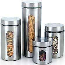 glass canisters kitchen amazon com cook n home glass canister with stainless window set