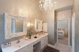 Bathroom Wall Accessories by Cool Slipcover Bench For Vanity And Crystal Chandelier Design Plus