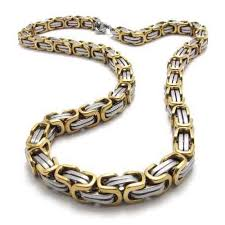 colored chain link necklace images Fashion jewelry stainless steel necklace classic gold color square jpg
