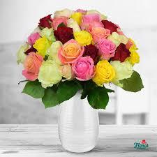 Multi Colored Roses Bouquet Of 75 Multi Colored Roses Pret 191 00 Eur Floria Ro