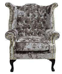 charm velvet chesterfield high back wing chair designersofas4u