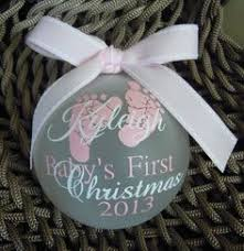 pink baby personalized footprint glitter ornament shower and