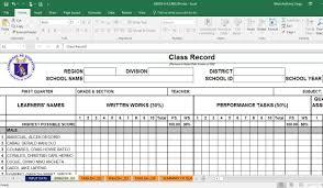 deped electronic class record ecr templates teacherph