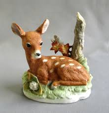 vintage homco lying deer 8879 home interiors bisque porcelain