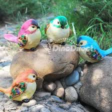 outsorop sitting bird garden ornaments 4 set dinodirect