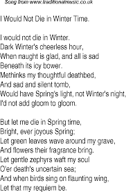 time song lyrics for 14 i would not die in winter time