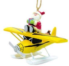 airplane ornament santa claus on floatplane ornament tree decor