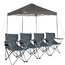 Lawn Chair With Umbrella Attached Ozark Trail Instant 10x10 Straight Leg Canopy With 4 Chairs Value