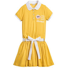 girls yellow jersey dress kids online