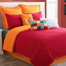 Bedspreads Quilts And Coverlets Dash Red Orange Reversible Coverlet Set By Fiesta