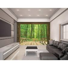 Living Room Wallpaper Home Depot Walltastic 120 In H X 96 In W Woodland Forest Wall Mural Wt43572