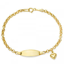 childrens gold bracelets yellow gold children s id bracelet with heart charm