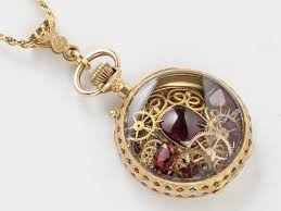 red antique necklace images Antique pocket watch case necklace in solid 18k gold with genuine jpg