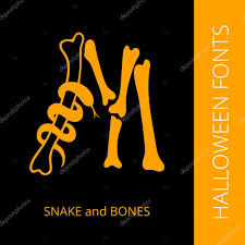 halloween alphabet letter m consist of snake and bones u2014 stock