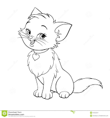 kitten clipart black and white pencil and in color kitten
