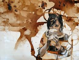 artistic coffee artistic wallpaper featuring young woman with a cup of coffee