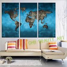 Canvas Map Of The World by 3 Panels Vintage World Map Canvas Painting Wall Pictures For