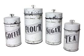 amazon com french country vintage style white 4 piece canister