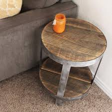 round industrial side table bi level round industrial side table the spotted door