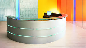 Circular Reception Desk by Extraordinary Curved Glass Tabletop For Contemporary Reception