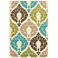 linon home decor rugs linon home decor claremont damask turquoise and creme 5 ft x 7 ft