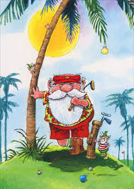 golfer santa leaning against palm tree box of 18 gary patterson
