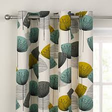 Teal Patterned Curtains Buy Sanderson Dandelion Clocks Lined Eyelet Curtains John Lewis
