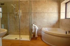 Bathroom With Bath And Shower Trendy White Acrylic Corner Bathtub With Shower Cubicle And Brown