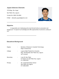 resume objective for electrician resume for ojt im looking for ojt company im electronics student