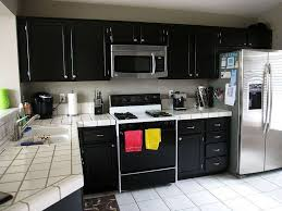 Black Oak Kitchen Cabinets Kitchen Best Black Kitchen Inspiration With L Shape Black Wood