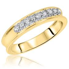 14k gold mens wedding band 3 8 ct t w diamond his and hers wedding rings 14k yellow gold